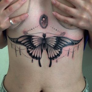 Lace Butterfly Sternum Tattoo