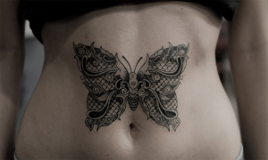 Lace Butterfly Tummy Tattoo