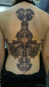 Lace Tattoo Design On Back
