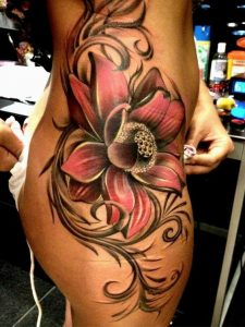Large Shaded Pink Flower Thigh Tattoo