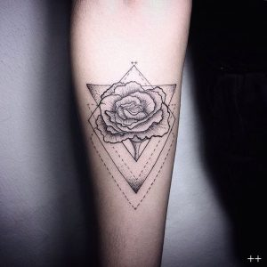 Lovely Dotwork Rose In Triangles Forearm Tattoo