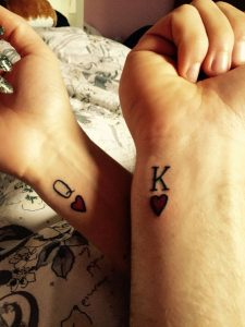 Matching King and Queen of Hearts Wrist Tattoo