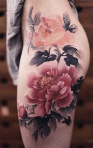 One Large Red Flower Thigh Tattoo