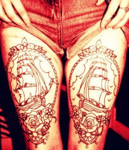 Outline Framed Old Ship Thigh Tattoo