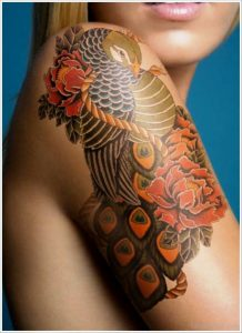Peacock Tattoo On Shoulder