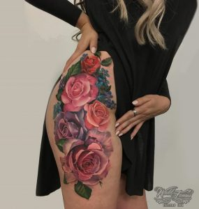 Photographic Roses Thigh Tattoo
