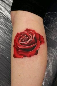 Realistic Red Rose 3D Bicep Tattoo