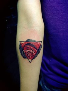 Red Rose Forearm Tattoo