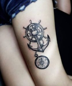 Shaded Helm and Anchor Thigh Tattoo