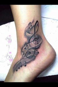 Shaded Musical Notes Foot Tattoo