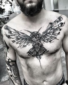 Sketchy Abstract Owl Chest Tattoo