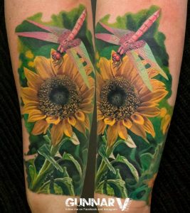Sunflower And Dragonfly Forearm Tattoo