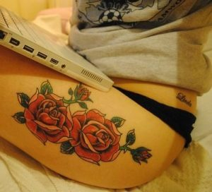 Two Red Roses Thigh Tattoo