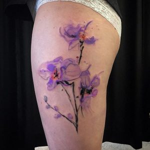 Watercolor Abstract Purple Flower Thigh Tattoo