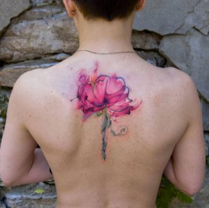 Watercolor Floral Back Tattoo