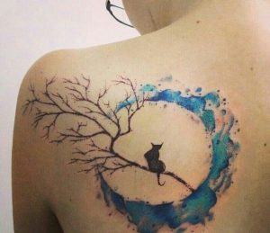 Watercolor Moon With Black Cat Back Tattoo