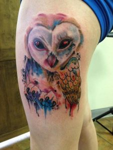 Watercolor Owl Thigh Tattoo