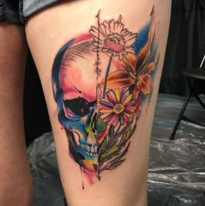 Watercolor Skull and Flowers Thigh Tattoo