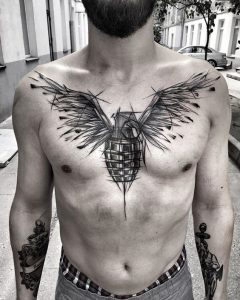Winged Grenade Chest Tattoo