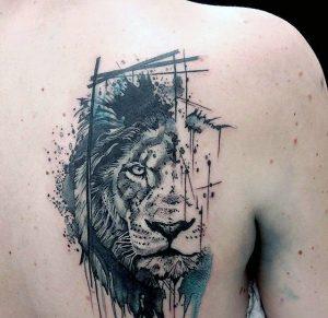 Abstract Watercolor Lion Back Tattoo