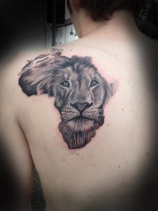 African Lion Back Tattoo