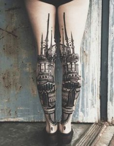 Architecture Themed Back Of The Leg Tattoos