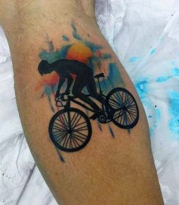 Bicycle Chase Calf Tattoo