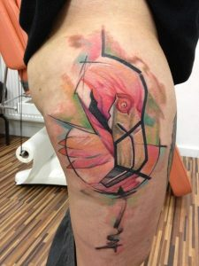 Colorful Abstract Flamingo Thigh Tattoo