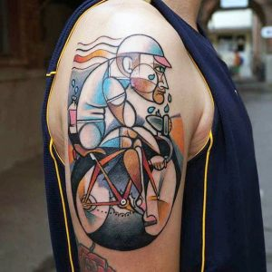 Contemporary Style Cycling Man Arm Tattoo