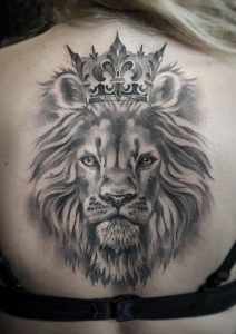 Crowned Lion Back Tattoo