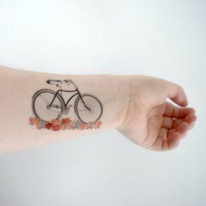 Floral Styled Bicycle Wrist Tattoo