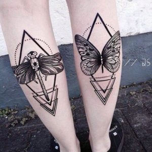 Geometric Dragonfly And Butterfly Back Of The Leg Tattoos