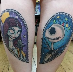 Jack And Sally Back Of The Leg Tattoos