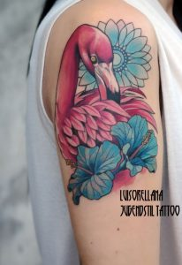 Lovely Floral Flamingo Arm Tattoo