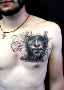 Sketch Work Face Chest Tattoo