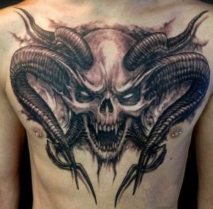 Skull With Horns Chest Tattoo