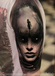 Lost and Scary Woman Full Sleeve Tattoo
