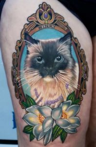 Neotraditional Cat Portrait Thigh Tattoo