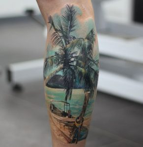 Parked at the Beach Sleeve Tattoo