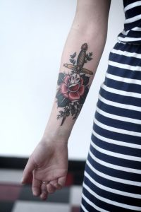 Yellow Dagger with Beads and A Rose Forearm Tattoo