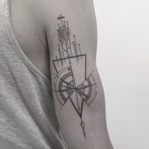 Circuit Geometry with Compass Arm Tattoo