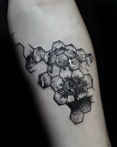 Forest on Hexa-rings Arm Tattoo