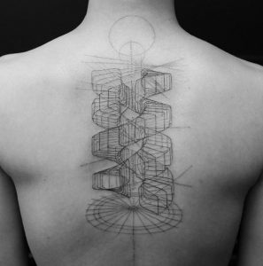 Sketched 3D Model of a Double Helix Spine Tattoo
