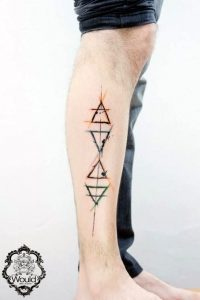 Alchemic Symbols of Elements with Colored Lines Calf Tattoo