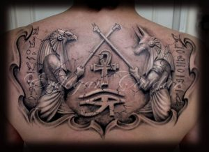 Anubis and Horus Cross Weapons Upper Back Tattoo