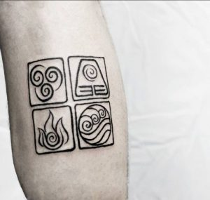 Calligraphic Symbols of the Natural Elements Forearm Tattoo