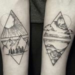 Four Elements in Black Ink Forearm Tattoo