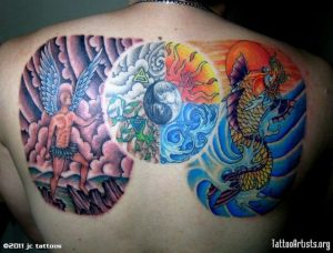 Mythical Representation of the Natural Elements Full Upper Back Tattoo