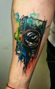 Watercolor Photography Forearm Tattoo