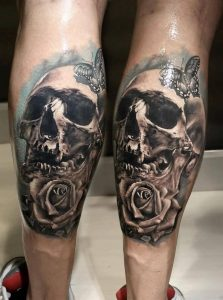 3D Skull, Rose And Butterfly Calf Tattoo